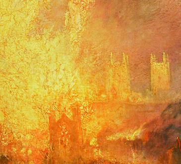 Détail de « L'Incendie de la Chambre des Lords et des Communes » ©  Joseph Mallord William Turner (1835)